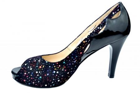 Pantofi cu toc Piele Naturala Negri Lowanna D017401