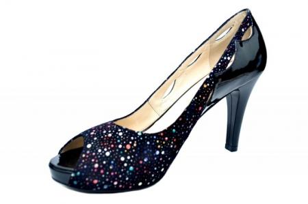 Pantofi cu toc Piele Naturala Negri Lowanna D017402