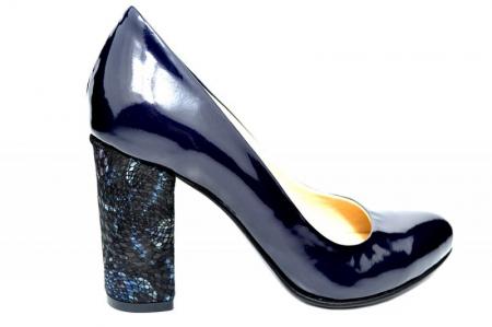 Pantofi cu toc Piele Naturala Bleumarin Luana D018280