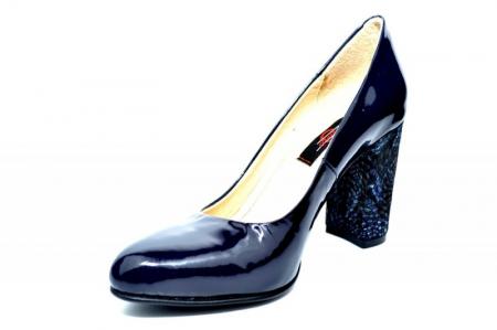 Pantofi cu toc Piele Naturala Bleumarin Luana D018282