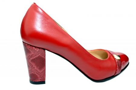 Pantofi cu toc Piele Naturala Rosii Moda Prosper Meera D017360