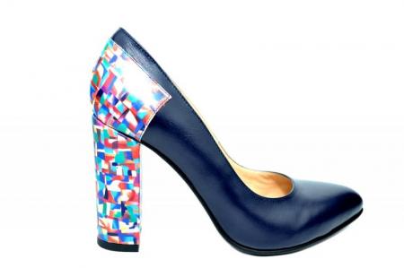 Pantofi cu toc Piele Naturala Bleumarin Moda Prosper Melisandre D018210