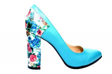 Pantofi cu toc Piele Naturala Turqouise Moda Prosper Melisandre D018220