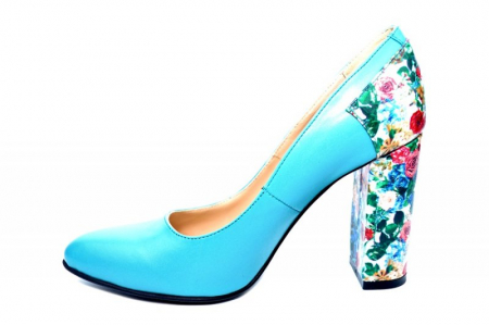 Pantofi cu toc Piele Naturala Turqouise Moda Prosper Melisandre D018221