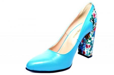 Pantofi cu toc Piele Naturala Turqouise Moda Prosper Melisandre D018223