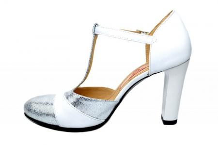 Pantofi Dama Piele Naturala Albi Milena D018361