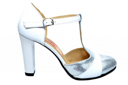 Pantofi Dama Piele Naturala Albi Milena D018360