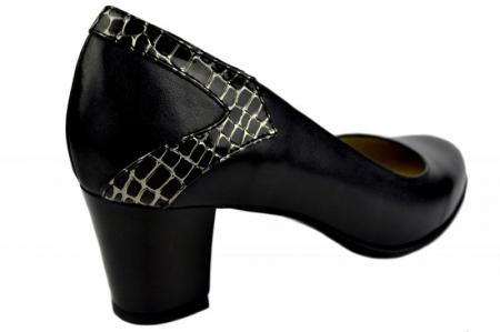 Pantofi cu toc Piele Naturala Negri Moda Prosper Cosette D013693
