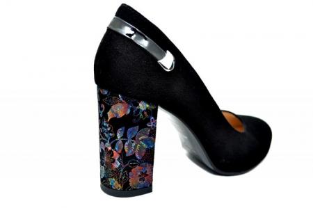 Pantofi cu toc Piele Naturala Negri Moda Prosper Moree D017383