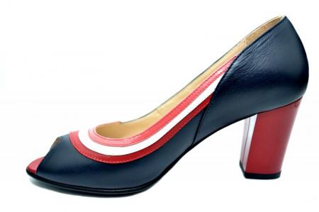 Pantofi cu toc Piele Naturala Bleumarin Nama D01741 [1]