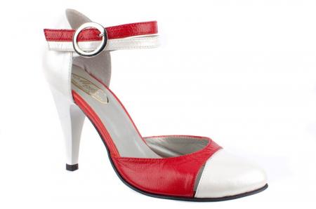 Pantofi Dama Piele Naturala Albi Lena D00130