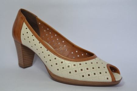 Pantofi cu toc Piele Naturala Bej Relia D004593