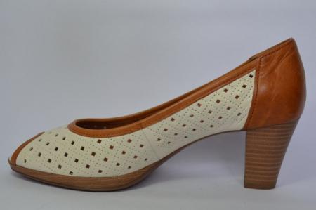Pantofi cu toc Piele Naturala Bej Relia D004591