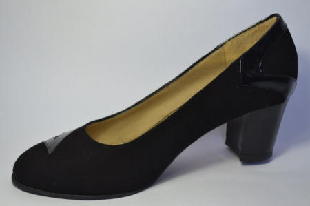 Pantofi cu toc Piele Naturala Negri Veli D004973