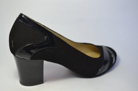 Pantofi cu toc Piele Naturala Negri Veli D004975