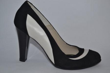 Pantofi cu toc Piele Naturala Negri Vela D00614 [0]