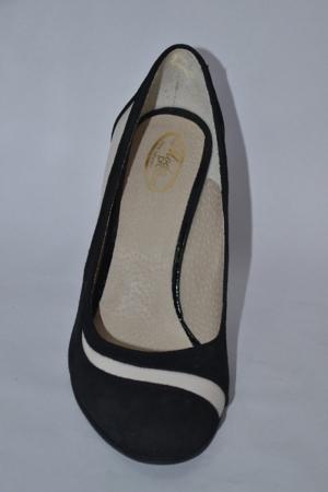 Pantofi cu toc Piele Naturala Negri Vela D00614 [4]