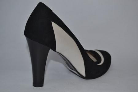 Pantofi cu toc Piele Naturala Negri Vela D00614 [6]