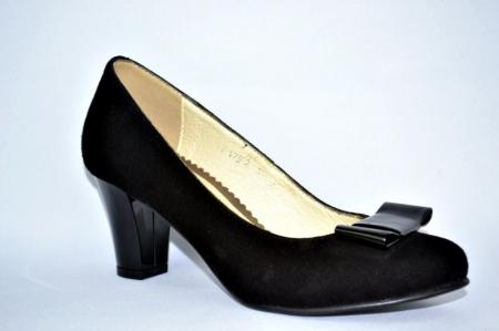 Pantofi cu toc Piele Naturala Negri Rela D008933