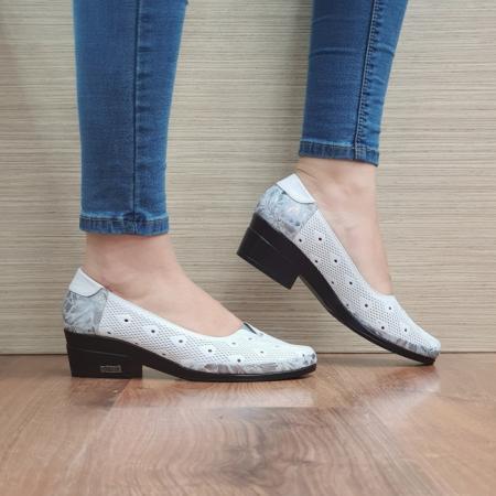 Pantofi cu toc Piele Naturala Albi Catalina D02463 [0]