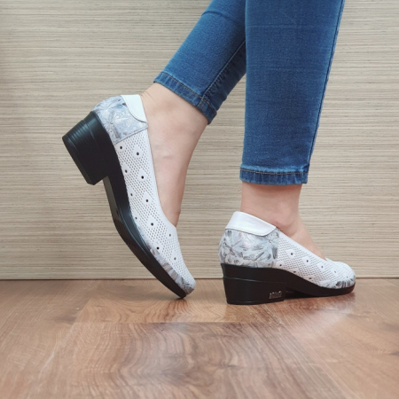 Pantofi cu toc Piele Naturala Albi Catalina D02463 [3]