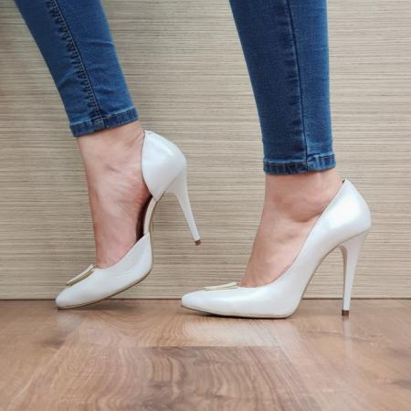 Pantofi cu toc Piele Naturala Albi Letitia D023961