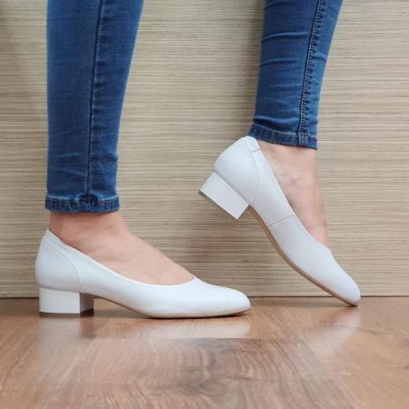 Pantofi cu toc Piele Naturala Albi Medina D025110