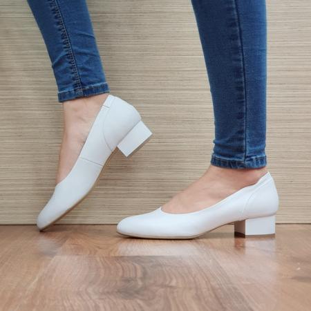 Pantofi cu toc Piele Naturala Albi Medina D025111