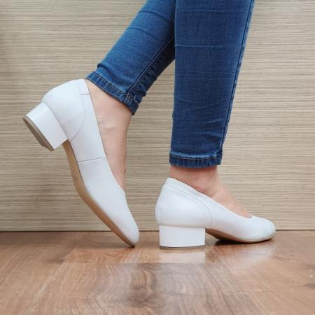 Pantofi cu toc Piele Naturala Albi Medina D025113