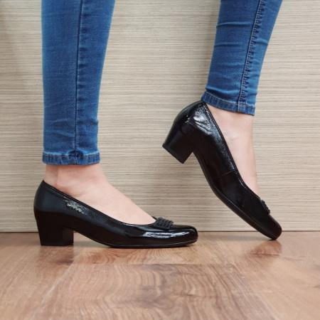 Pantofi cu toc Piele Naturala Ara Negri Agnia D025090