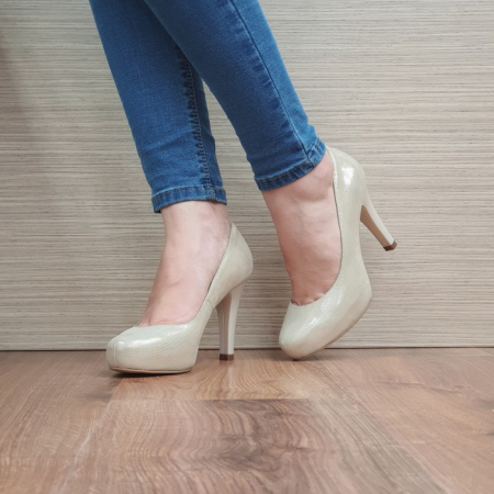Pantofi cu toc Piele Naturala Aurii Mira D024952