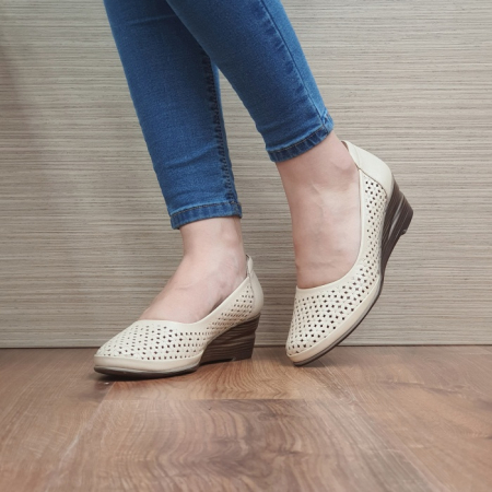 Pantofi Casual Piele Naturala Bej Mirela D024642