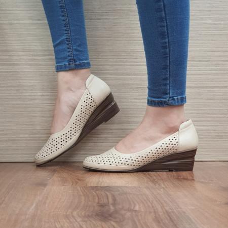Pantofi Casual Piele Naturala Bej Mirela D024641
