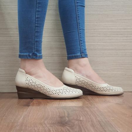 Pantofi Casual Piele Naturala Bej Mirela D024640