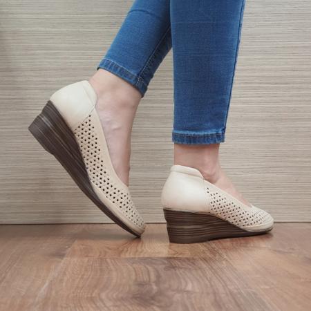Pantofi Casual Piele Naturala Bej Mirela D024643