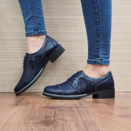 Pantofi Oxford Piele Naturala Bleumarin Anita D025161