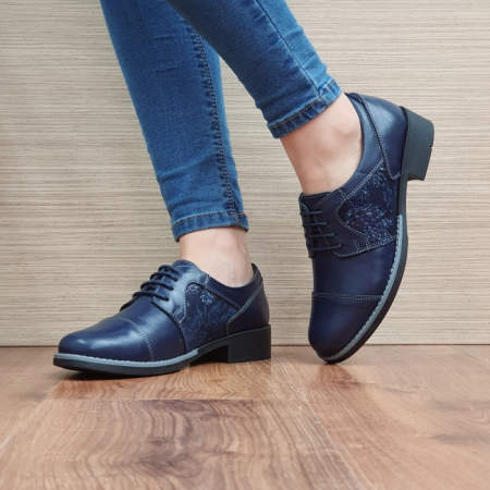 Pantofi Oxford Piele Naturala Bleumarin Anita D025162