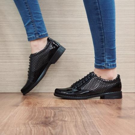 Pantofi Oxford Piele Naturala Negru-Lac Magda D02517 [1]