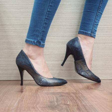 Pantofi cu toc Piele Naturala Bleumarin Eniko D024700