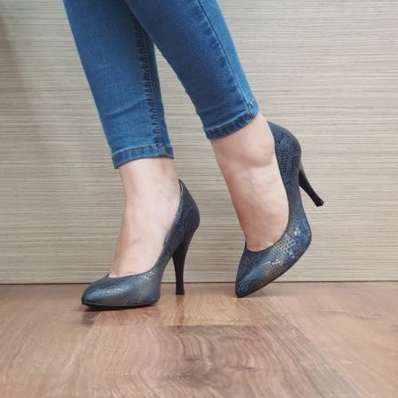 Pantofi cu toc Piele Naturala Bleumarin Eniko D024702