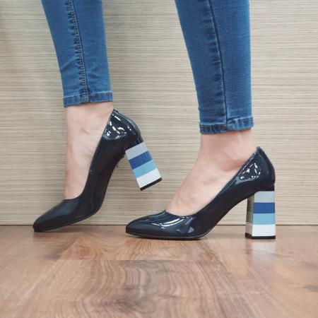 Pantofi cu toc Piele Naturala Bleumarin Viki D02475 [1]