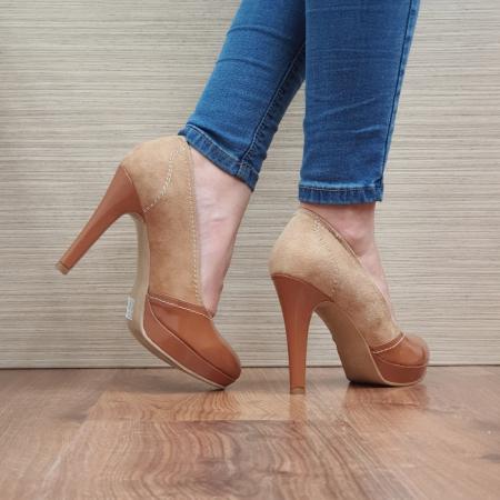 Pantofi cu toc Piele Naturala Camel Melina D025003