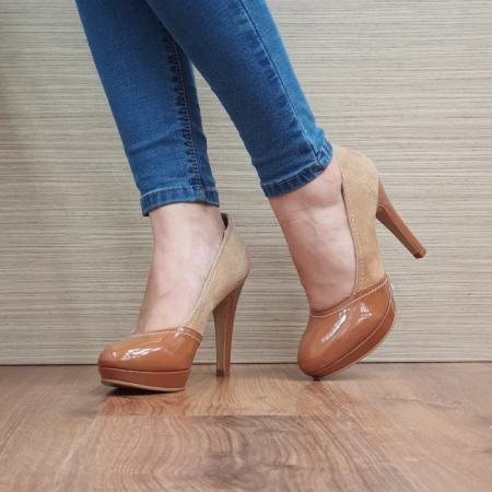Pantofi cu toc Piele Naturala Camel Melina D025002