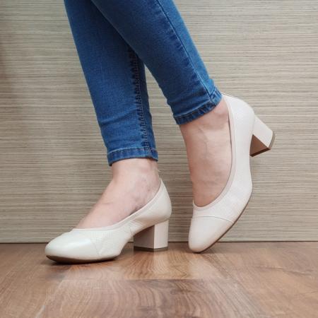 Pantofi cu toc Piele Naturala Epica Bej Noa D025052