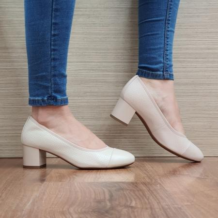 Pantofi cu toc Piele Naturala Epica Bej Noa D025050