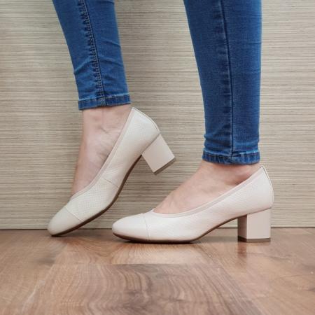 Pantofi cu toc Piele Naturala Epica Bej Noa D025051