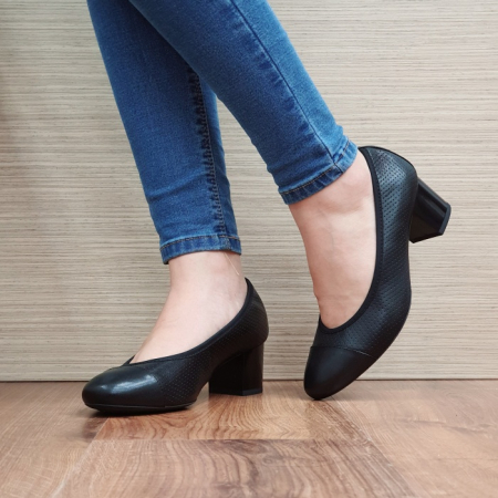 Pantofi cu toc Piele Naturala Epica Negri Rebecca D025062