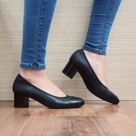 Pantofi cu toc Piele Naturala Epica Negri Rebecca D025060