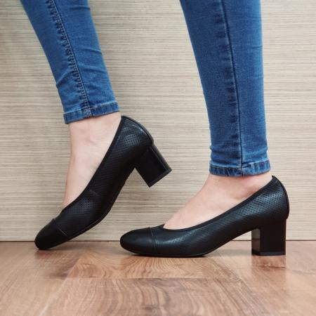 Pantofi cu toc Piele Naturala Epica Negri Rebecca D025061