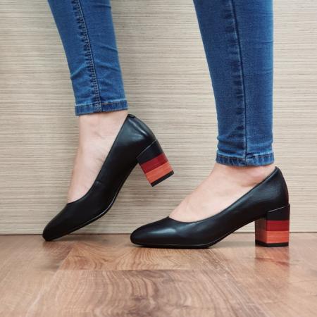Pantofi cu toc Piele Naturala Epica Negri Sandra D02504 [1]